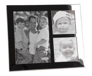 Cadre pour 3 photos Acier et verre, Noir - H19