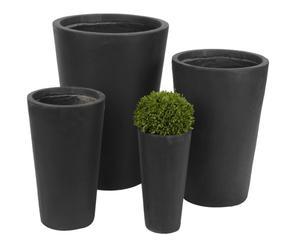 4 Jardinières Fibre d'argile, Noir - H72