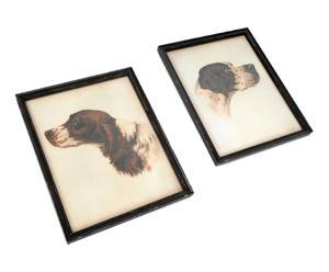 2 affiches encadrées chiens de chasse Sapin et verre, Noir - H49