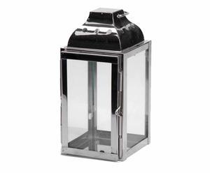 Lanterne Inox et verre, Gris argenté - H20