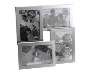 Cadre photos Aluminium brossé et verre, Gris - 30*29