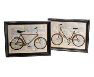 2 Affiches encadrées Vélo Bois de Pin - 46*33