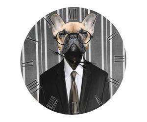 Horloge chien bois, Noir et gris - Ø60