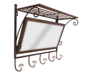Portemanteau miroir fer, marron - L46