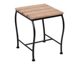 Tabouret de jardin métal et bois, noir et naturel - H44