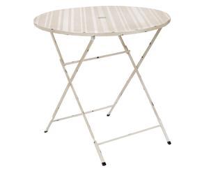 TABLE DE JARDIN PLIABLE MÉTAL, BEIGE ET BLANC - Ø80
