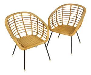 Paire de fauteuils enfant, Rotin et métal, Naturel - 49*42