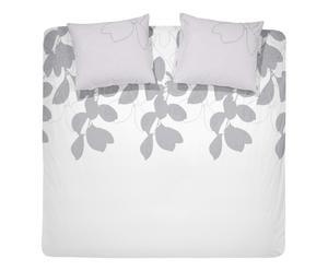 Housse de couette et 2 taies blomma Coton, Blanc et gris - 200*200