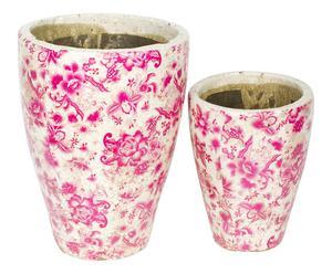 2 Pots, Terre cuite - Rose et blanc