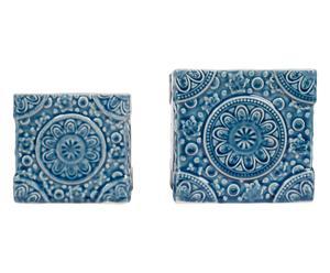 2 Cache-pots betsy grès, bleu et blanc - H13