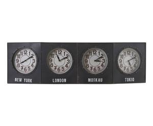 Horloge à 4 fuseaux horaires Fer, Noir - L117