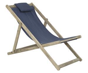 Chaise longue bois et coton, naturel et bleu - L131