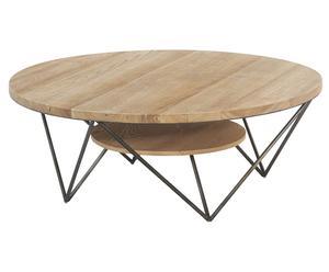 Table basse pin et métal, naturel et noir - ø120