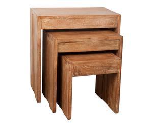 3 Tables gigognes, bois massif - L60