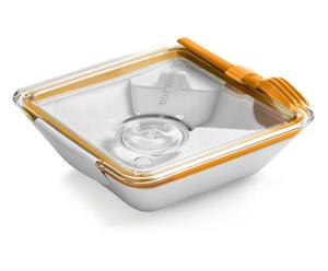 Lunch box, Blanc et orange - 880 mL