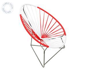 Fauteuil Acapulco pour enfant Plastique et métal, Rouge et blanc - H64