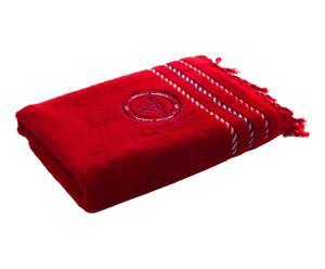 Drap de plage frangé Caravelle Coton, Rouge - 150*100