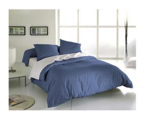 Drap plat et 2 taies ANNE Coton 57 fils/cm², Bleu - 300*240