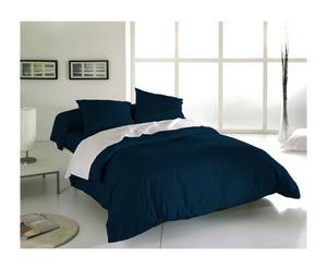 Drap plat et 1 taie LIZA Coton 57 fils/cm², Bleu marine - 290*180
