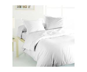 Drap plat et 1 taie en satin de coton VERA Coton 110 fils/cm², Blanc - 290*180