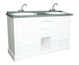 Meuble de salle de bains épicéa, Blanc et gris – L145