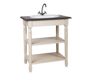Meuble de salle de bains épicéa, Blanc et gris ardoise – L82