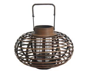 Lanterne CLASSY Bambou, plastique et verre, Marron - H41