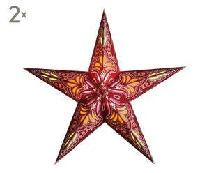 2 Abat-jour Jaipur Papier, Rouge et orange - H60