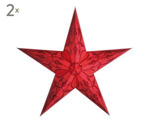 2 Abat-jour Damaskus Papier, Rouge - H60