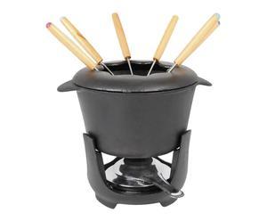 Service à fondue Fonte d'acier, Noir - 6 personnes