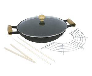 Wok avec couvercle et accessoires Fonte d'acier émaillée, verre et bambou - Ø36