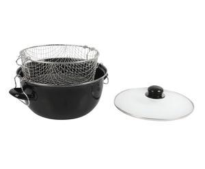 Friteuse avec panier et couvercle Acier, Noir - Ø26