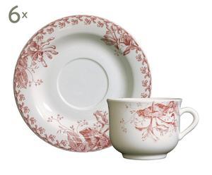 6 Tasses à thé et 6 Sous-tasses CHEVREFEUILLE, faïence – Ø15