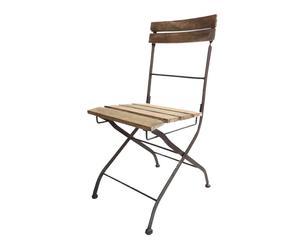 Chaise Fer et bois, Marron - H42