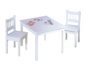 Table et 2 chaises enfant pin, blanc – L70