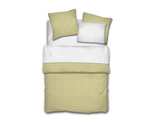 Housse de couette Coton 80 fils/cm², Jaune et blanc - 240*260