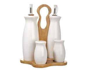Set à condiments, porcelaine et bambou – H18