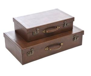 2 Valises décoratives, bois et cuir - Marron