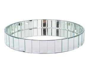Plateau rond verre et bois, miroir - L45
