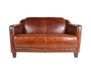 Canapé cuir, brun - 2 Places