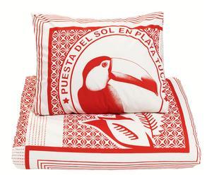 Housse de couette et Taie d'oreiller Coton, Rouge et blanc - 240*140
