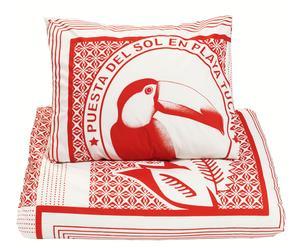 Housse de couette et 2 Taies d'oreiller Coton, Rouge et blanc - 240*200