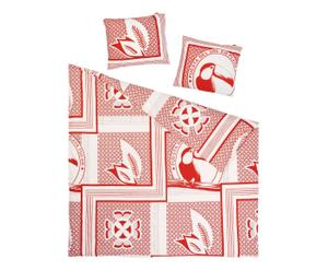 Housse de couette et 2 Taies d'oreiller Coton, Rouge et blanc - 240*220