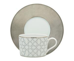 Tasse à thé carole Porcelaine, Blanc et platine mat - H13