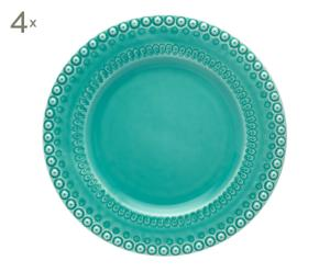 4 Assiettes plates Faïence portugaise, Turquoise - Ø29