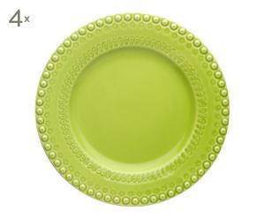 4 Assiettes plates Faïence portugaise, Vert  - Ø29