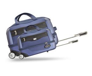 Valise cabine et grande valise abs et polyester, bleu - 96L et 52L