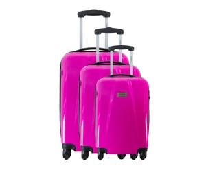 3 VALISES CHARIOT POLYCARBONATE, ROSE - H50, 60 & 70