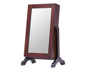 Miroir avec rangements intérieurs Bois, Marron - H59