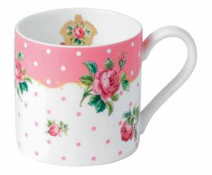 Mug Porcelaine, Blanc et rose à motifs  - H9